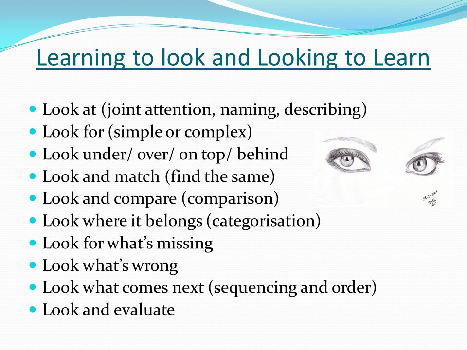Learning to look and Looking to Learn Look at (joint attention, naming, describing) Look for (simple or complex) Look under/ over/ on top/ behind Look and match (find the same) Look and compare (comparison) Look where it belongs (categorisation) Look for what's missing Look what's wrong Look what comes next (sequencing and order) Look and evaluate
