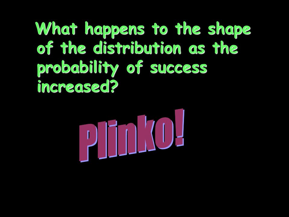 What happens to the shape of the distribution as the probability of success increased? What happens to the shape of the distribution as the probabilit