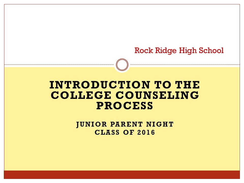 INTRODUCTION TO THE COLLEGE COUNSELING PROCESS JUNIOR PARENT NIGHT CLASS OF 2016 Rock Ridge High School
