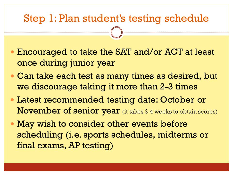 Step 1: Plan student's testing schedule Encouraged to take the SAT and/or ACT at least once during junior year Can take each test as many times as des