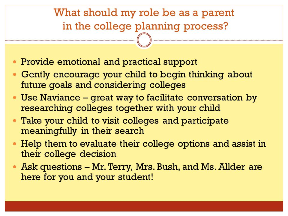 What should my role be as a parent in the college planning process.