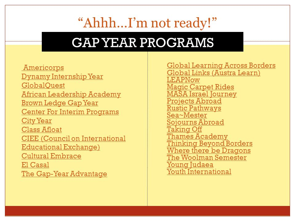 """Ahhh…I'm not ready!"" Americorps Dynamy Internship Year GlobalQuest African Leadership Academy Brown Ledge Gap Year Center For Interim Programs City Y"