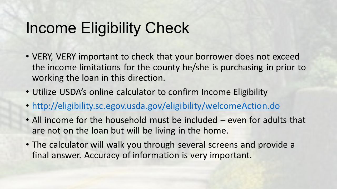 Income Eligibility Check VERY, VERY important to check that your borrower does not exceed the income limitations for the county he/she is purchasing i
