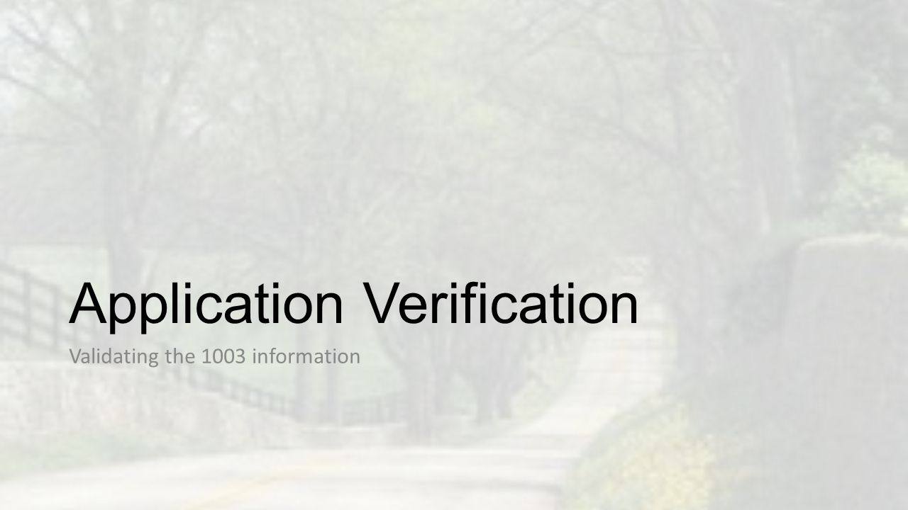 Application Verification Validating the 1003 information