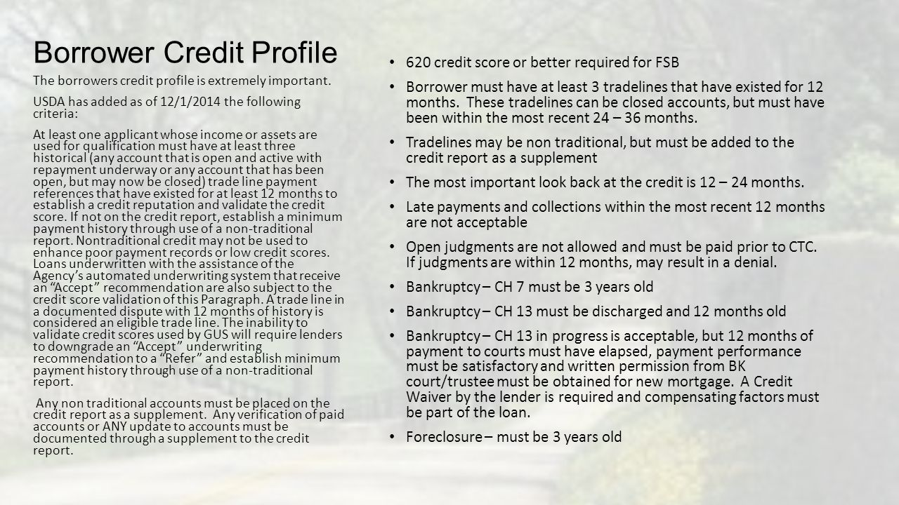 Borrower Credit Profile 620 credit score or better required for FSB Borrower must have at least 3 tradelines that have existed for 12 months. These tr