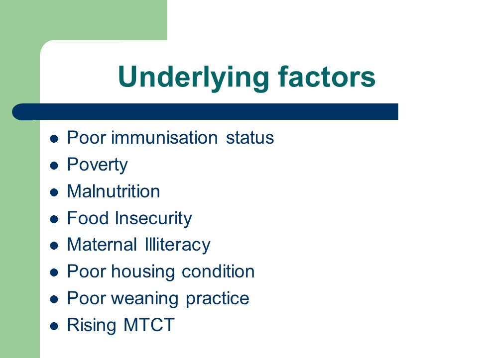 Underlying factors Poor immunisation status Poverty Malnutrition Food Insecurity Maternal Illiteracy Poor housing condition Poor weaning practice Risi