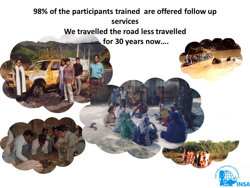 98% of the participants trained are offered follow up services We travelled the road less travelled ……….