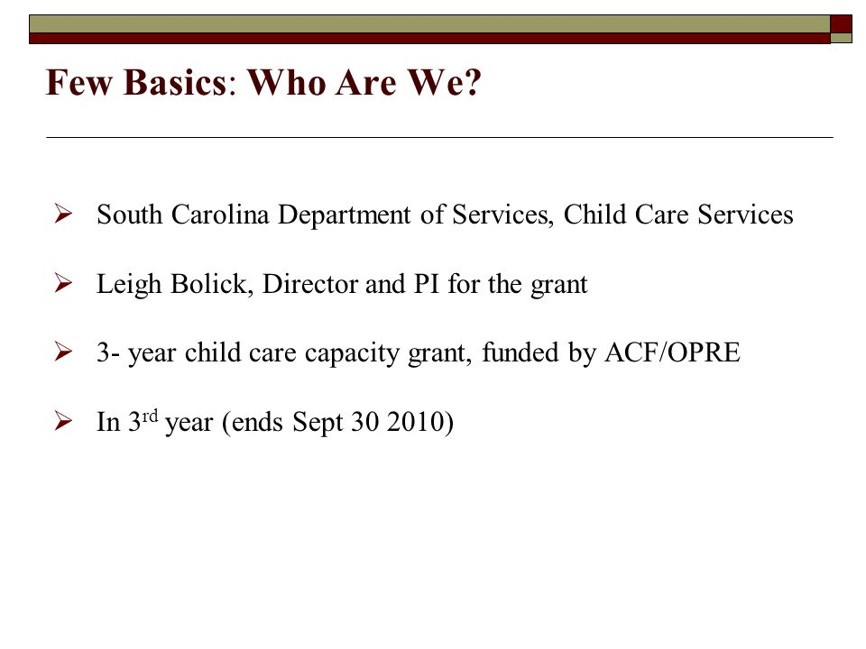 Few Basics: Who Are We?  South Carolina Department of Services, Child Care Services  Leigh Bolick, Director and PI for the grant  3- year child car