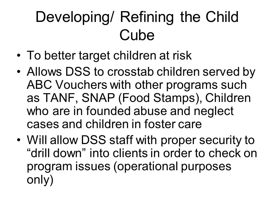 Developing/ Refining the Child Cube To better target children at risk Allows DSS to crosstab children served by ABC Vouchers with other programs such as TANF, SNAP (Food Stamps), Children who are in founded abuse and neglect cases and children in foster care Will allow DSS staff with proper security to drill down into clients in order to check on program issues (operational purposes only)