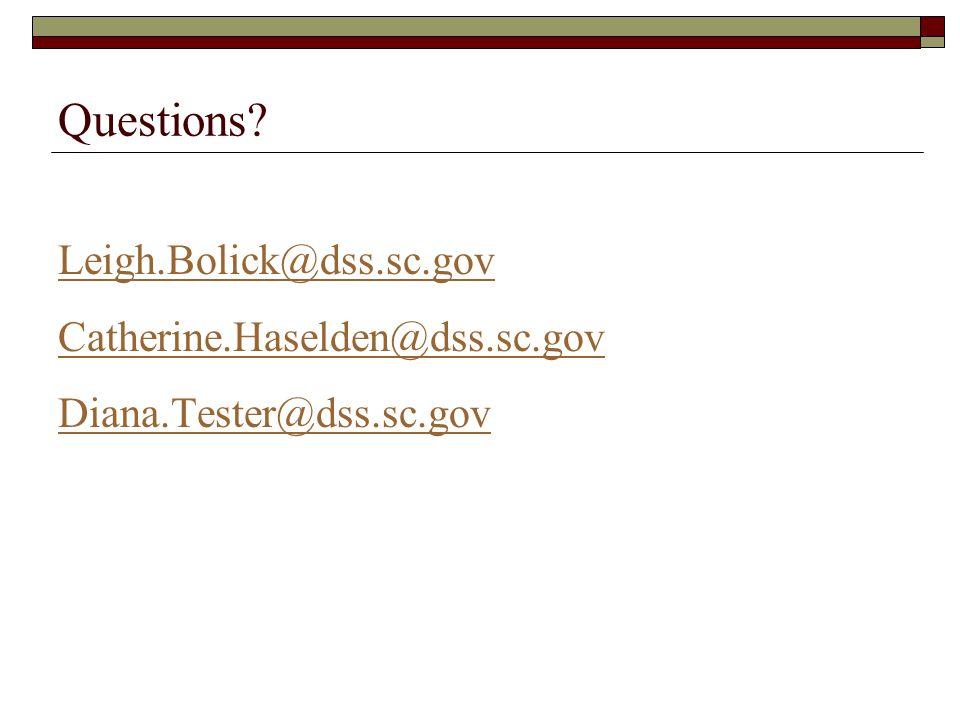 Questions Leigh.Bolick@dss.sc.gov Catherine.Haselden@dss.sc.gov Diana.Tester@dss.sc.gov