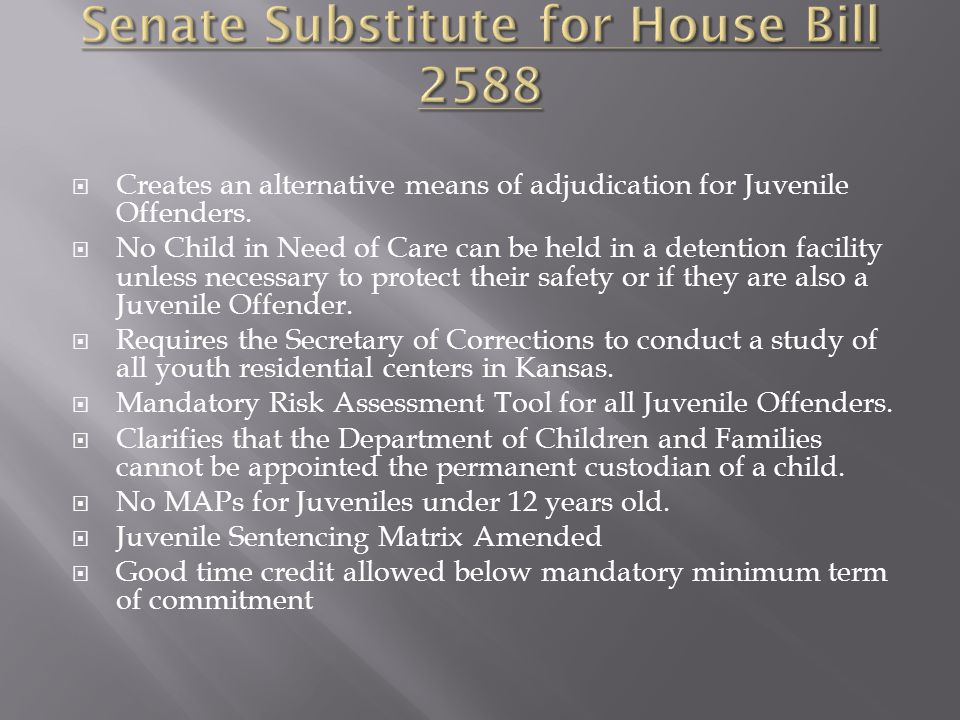  Creates an alternative means of adjudication for Juvenile Offenders.  No Child in Need of Care can be held in a detention facility unless necessary