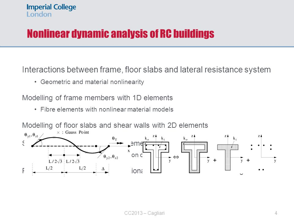 4CC2013 – Cagliari Interactions between frame, floor slabs and lateral resistance system Geometric and material nonlinearity Modelling of frame member