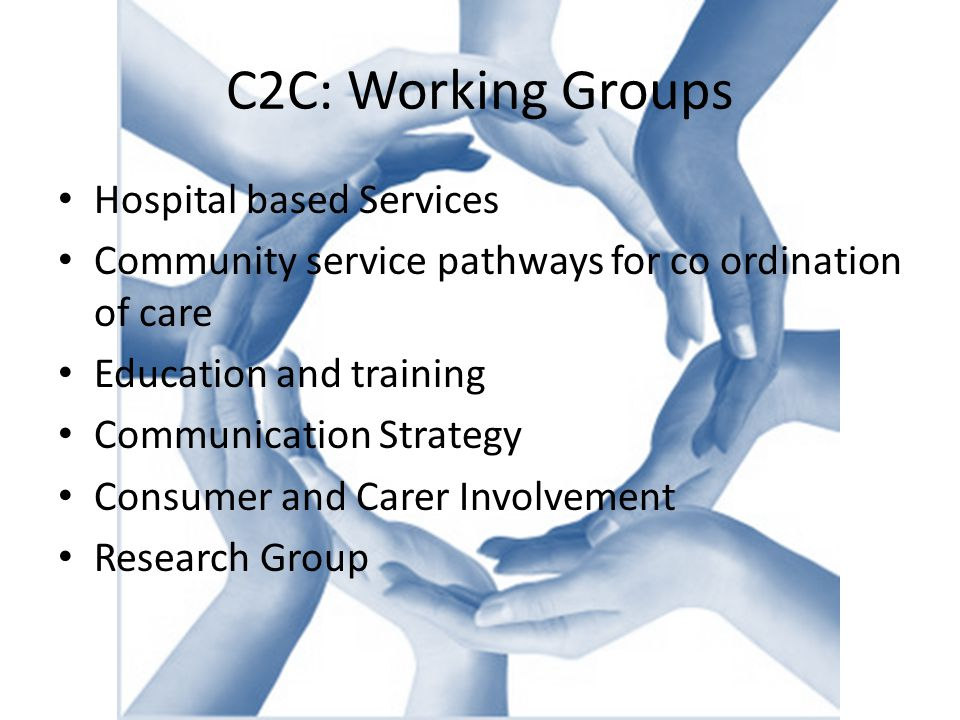 C2C: Working Groups Hospital based Services Community service pathways for co ordination of care Education and training Communication Strategy Consumer and Carer Involvement Research Group