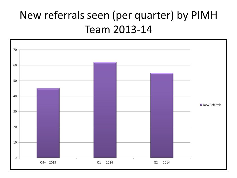New referrals seen (per quarter) by PIMH Team 2013-14