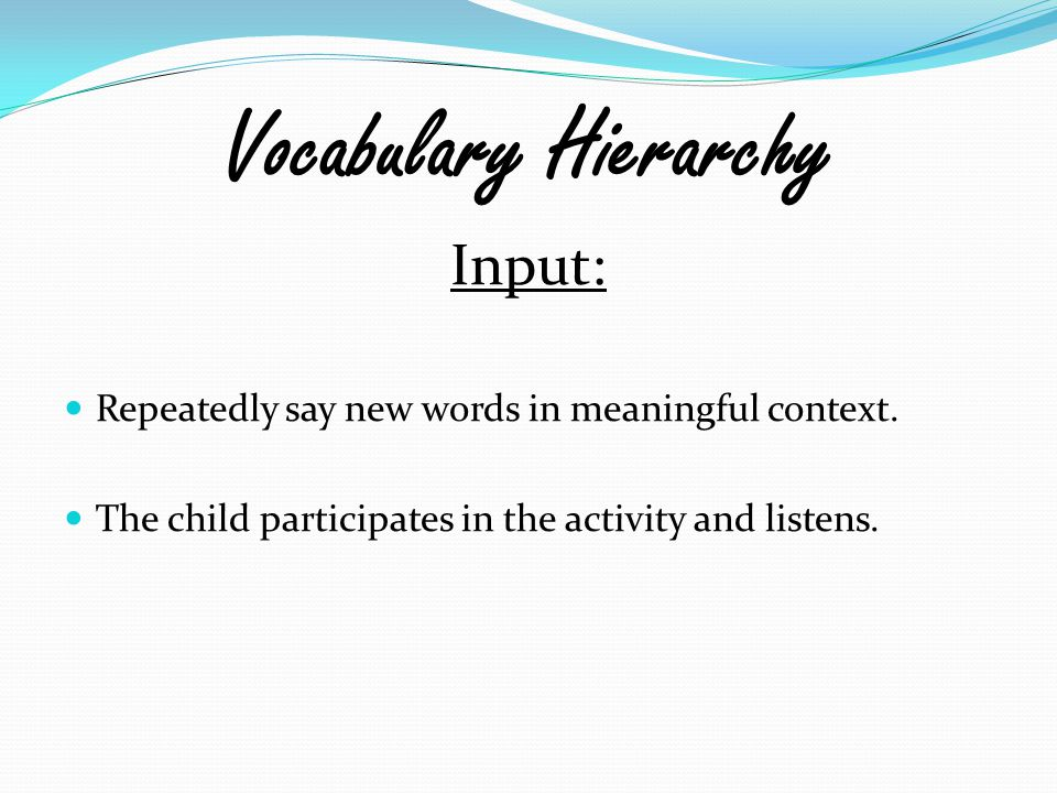 Vocabulary Hierarchy Input: Repeatedly say new words in meaningful context. The child participates in the activity and listens.