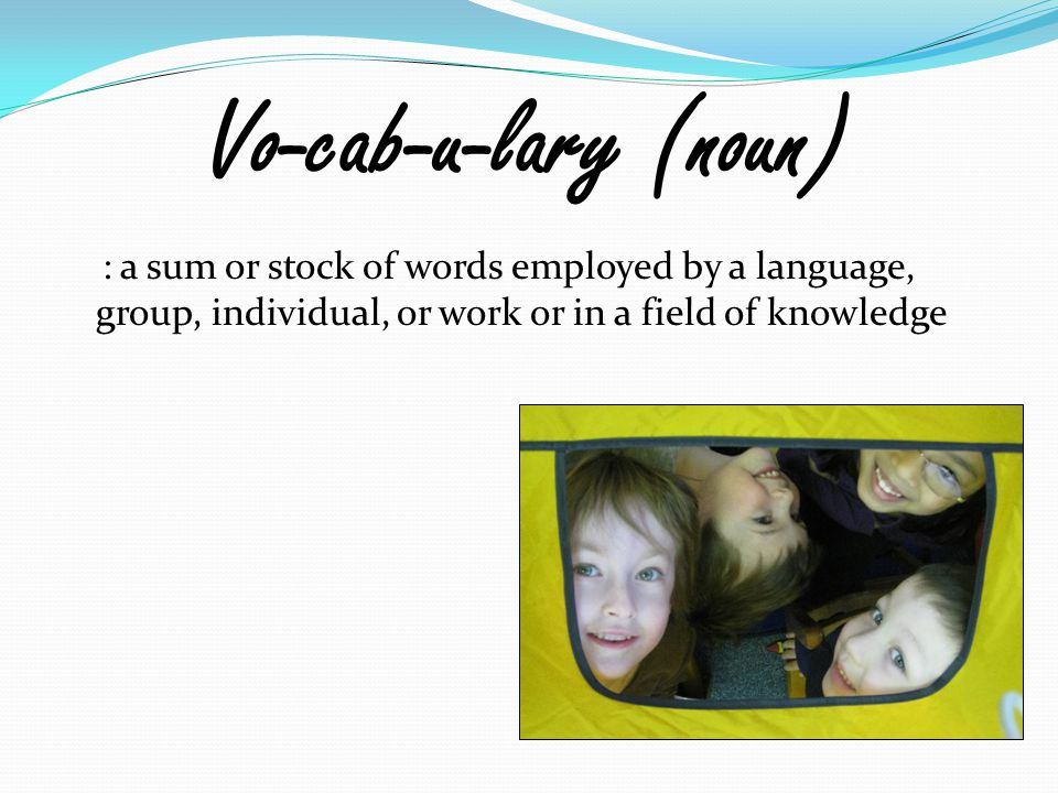 Vo-cab-u-lary (noun) : a sum or stock of words employed by a language, group, individual, or work or in a field of knowledge
