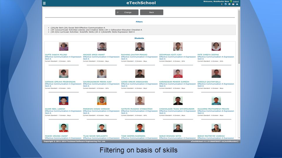 Filtering on basis of skills