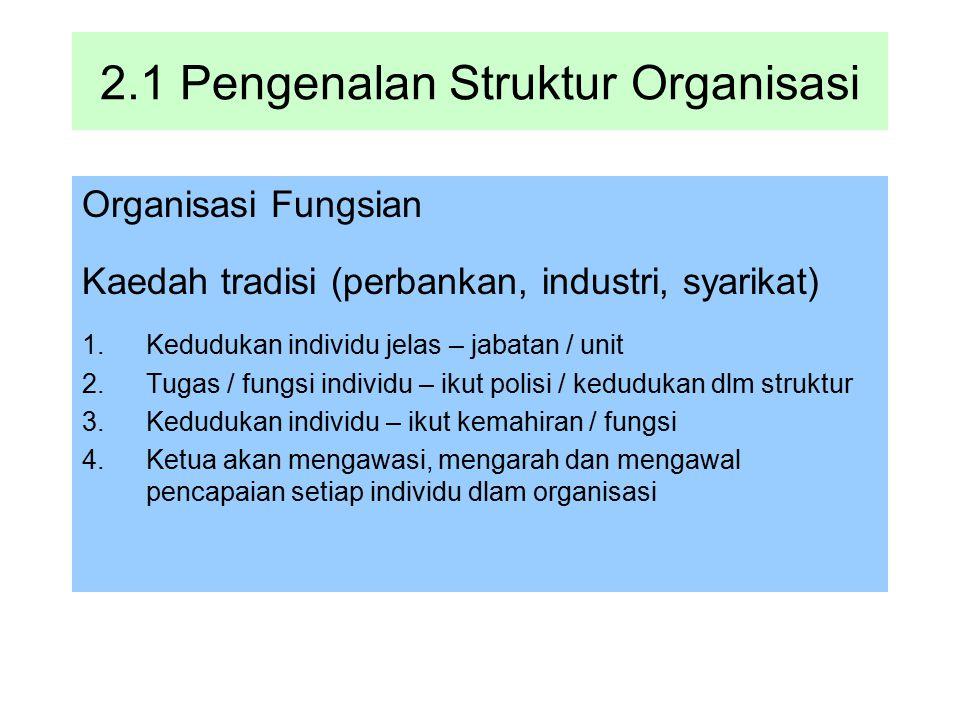 2.1 Pengenalan Struktur Organisasi Organisasi Fungsian Kaedah tradisi (perbankan, industri, syarikat) 1.Kedudukan individu jelas – jabatan / unit 2.Tu