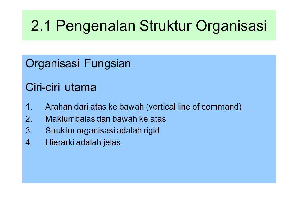 2.1 Pengenalan Struktur Organisasi Organisasi Fungsian Ciri-ciri utama 1.Arahan dari atas ke bawah (vertical line of command) 2.Maklumbalas dari bawah