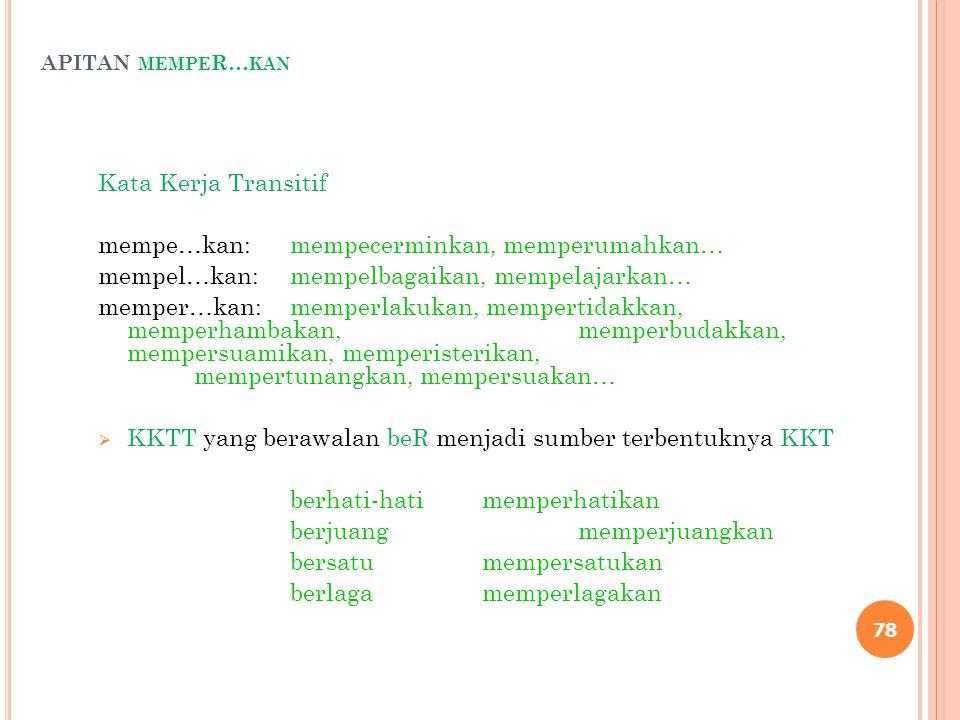 APITAN MEMPE R… KAN Kata Kerja Transitif mempe…kan:mempecerminkan, memperumahkan… mempel…kan:mempelbagaikan, mempelajarkan… memper…kan:memperlakukan,