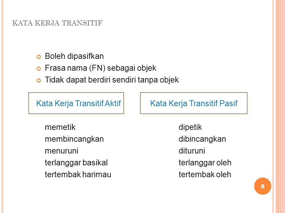 KATA KERJA TRANSITIF Boleh dipasifkan Frasa nama (FN) sebagai objek Tidak dapat berdiri sendiri tanpa objek Kata Kerja Transitif AktifKata Kerja Trans