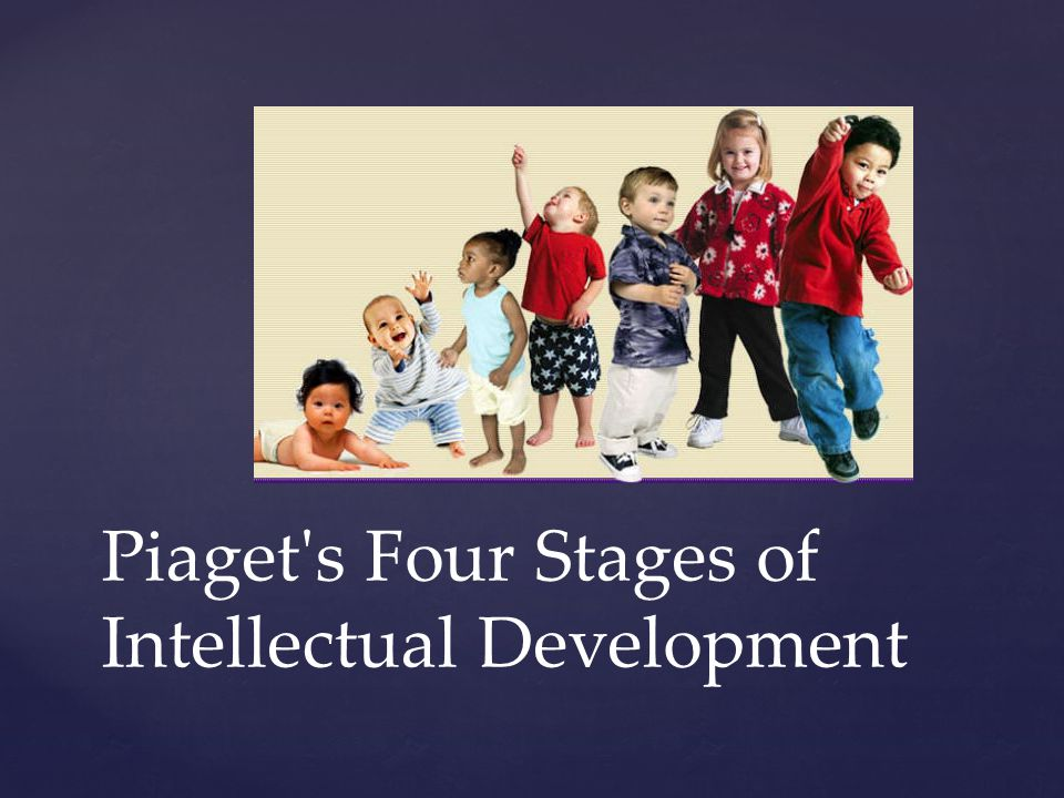 { Piaget s four stages of intellectual (or cognitive) development are: sensorimotor, preoperational, concrete operational and formal operational.