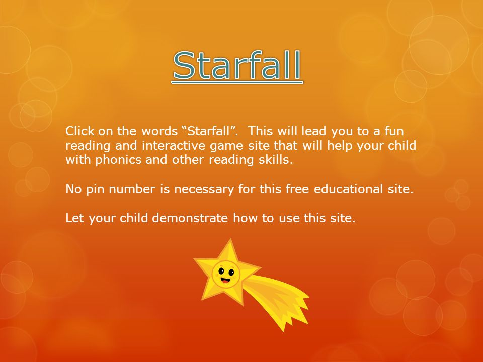 Click on the words Starfall .