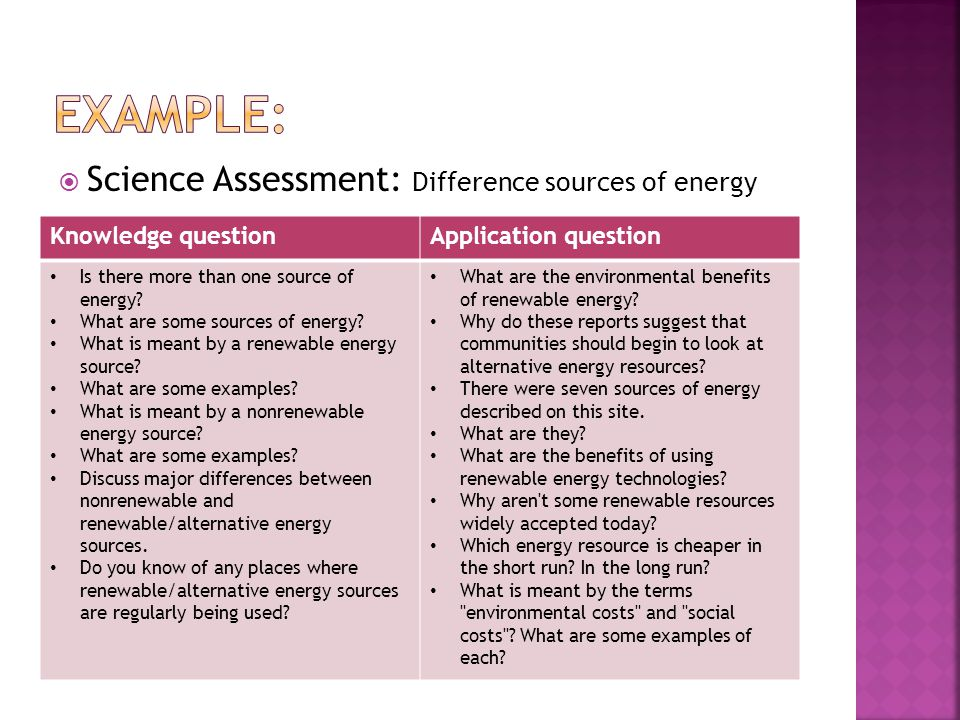  Science Assessment: Difference sources of energy Knowledge questionApplication question Is there more than one source of energy.