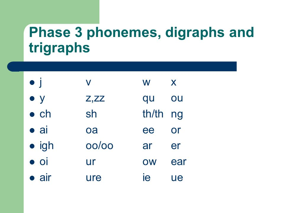 Phase 3 phonemes, digraphs and trigraphs jvwx yz,zzquou chshth/thng aioaeeor ighoo/ooarer oiurowear airureieue