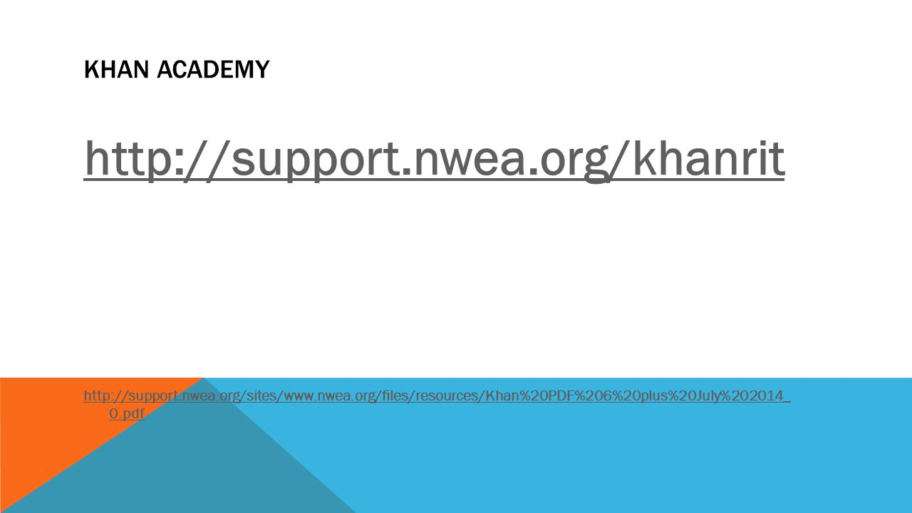KHAN ACADEMY http://support.nwea.org/khanrit http://support.nwea.org/sites/www.nwea.org/files/resources/Khan%20PDF%206%20plus%20July%202014_ 0.pdf