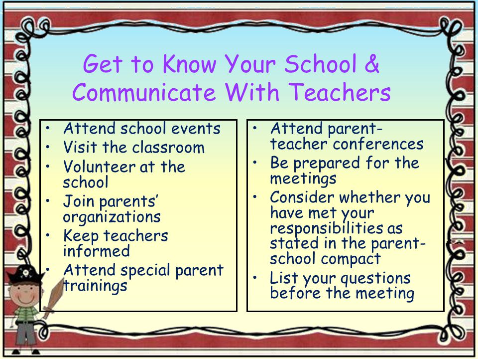 Get to Know Your School & Communicate With Teachers Attend school events Visit the classroom Volunteer at the school Join parents' organizations Keep teachers informed Attend special parent trainings Attend parent- teacher conferences Be prepared for the meetings Consider whether you have met your responsibilities as stated in the parent- school compact List your questions before the meeting