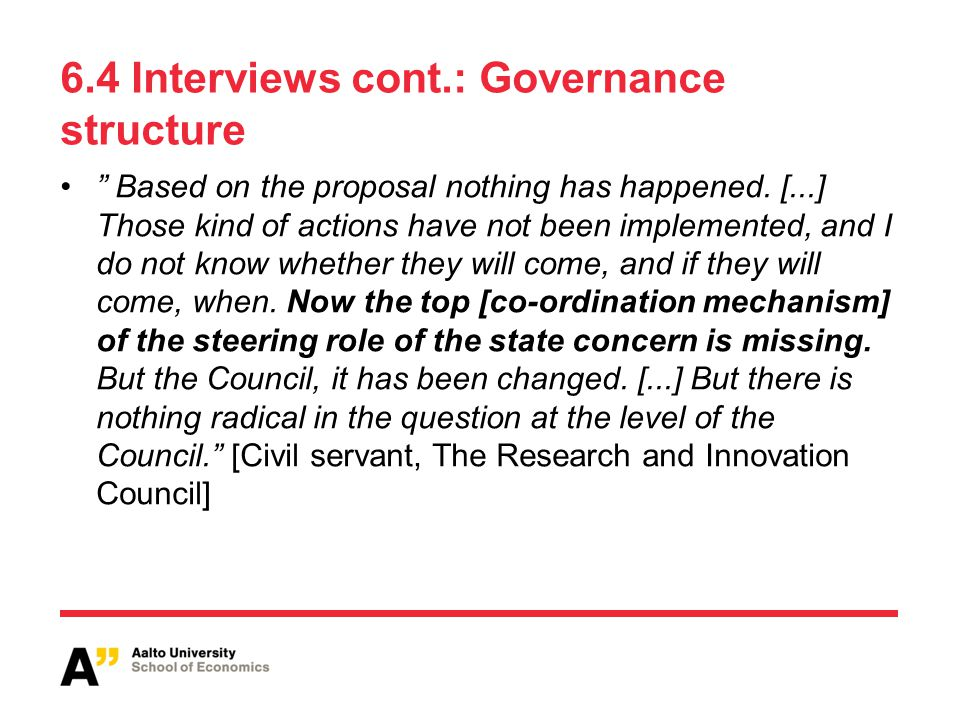 6.4 Interviews cont.: Governance structure Based on the proposal nothing has happened.