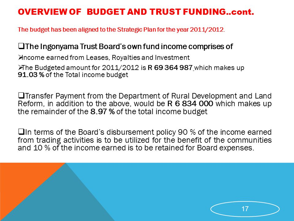 OVERVIEW OF BUDGET AND TRUST FUNDING..cont.