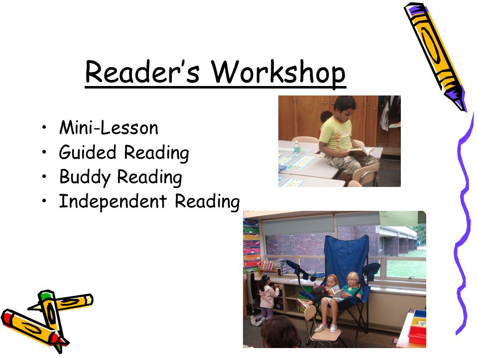 Reader's Workshop Mini-Lesson Guided Reading Buddy Reading Independent Reading