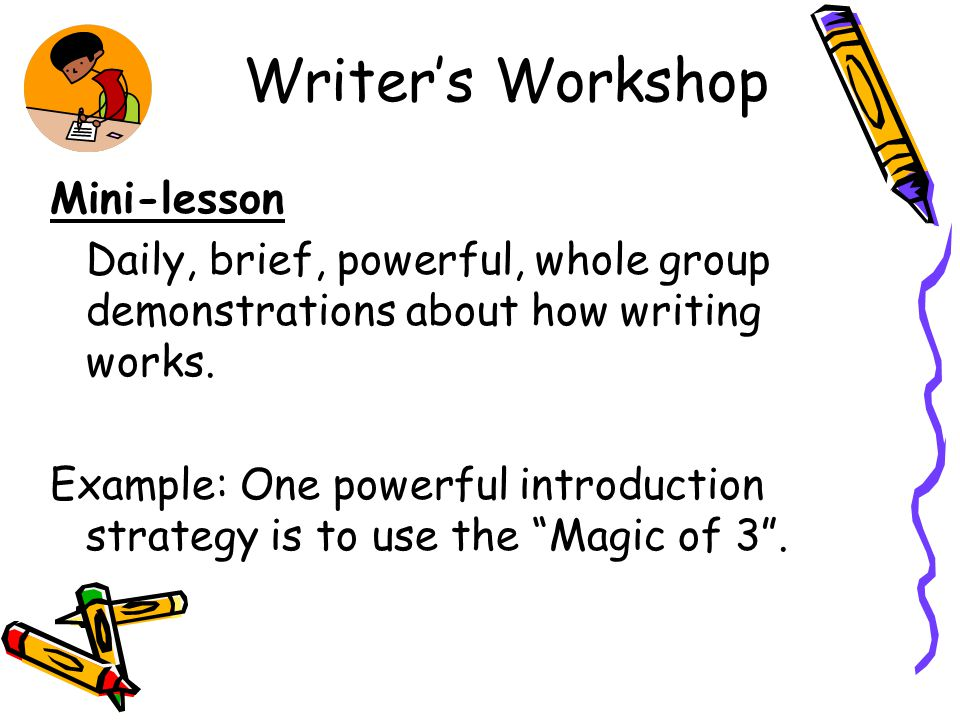 Writer's Workshop Independent Writing Students write on self-selected topics or teacher-directed topics.