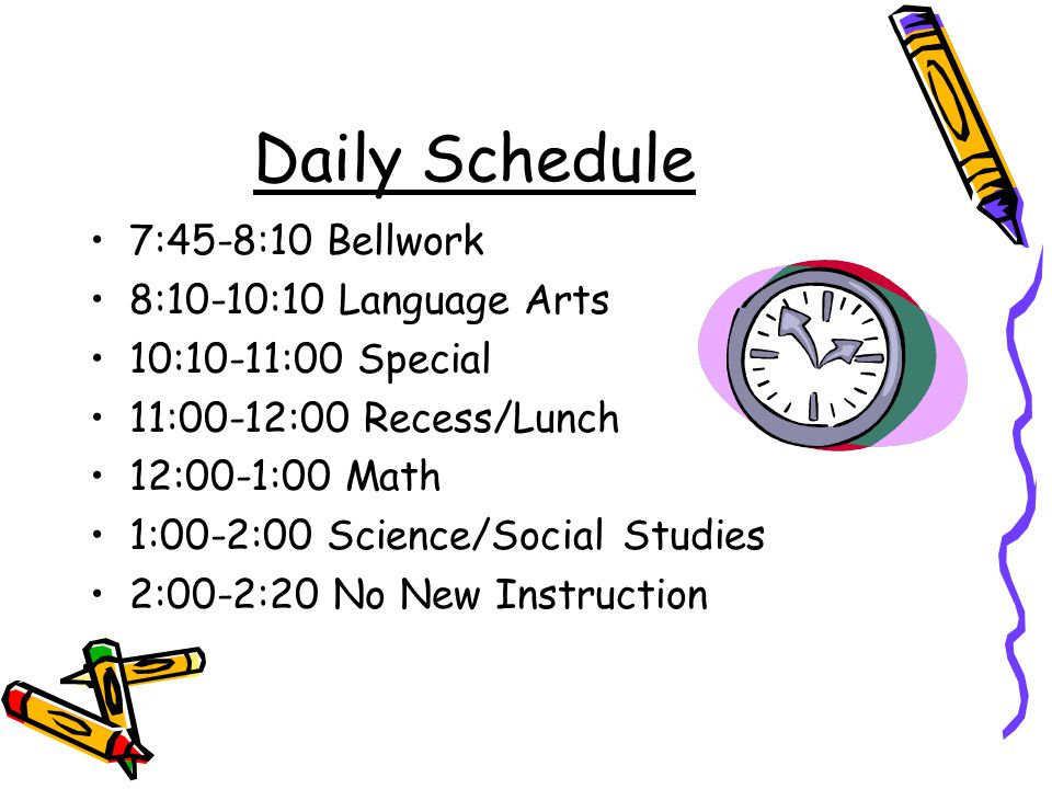 Daily Schedule 7:45-8:10 Bellwork 8:10-10:10 Language Arts 10:10-11:00 Special 11:00-12:00 Recess/Lunch 12:00-1:00 Math 1:00-2:00 Science/Social Studies 2:00-2:20 No New Instruction