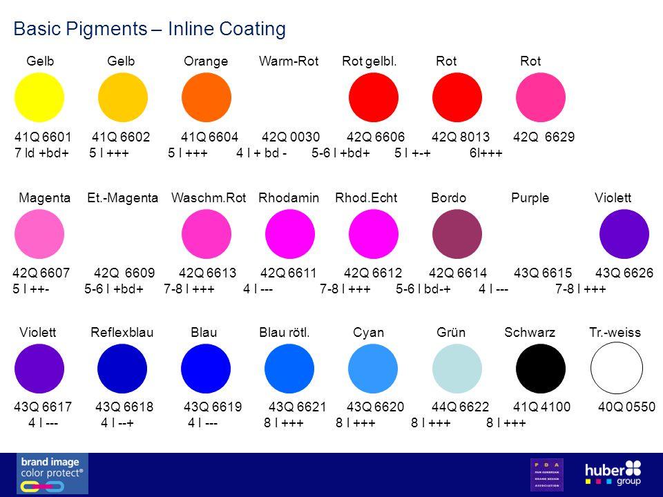 Basic Pigments – Inline Coating 41Q 6601 41Q 6602 41Q 6604 42Q 0030 42Q 6606 42Q 8013 42Q 6629 7 ld +bd+ 5 l +++ 5 l +++ 4 l + bd - 5-6 l +bd+ 5 l +-+ 6l+++ Gelb Gelb Orange Warm-Rot Rot gelbl.