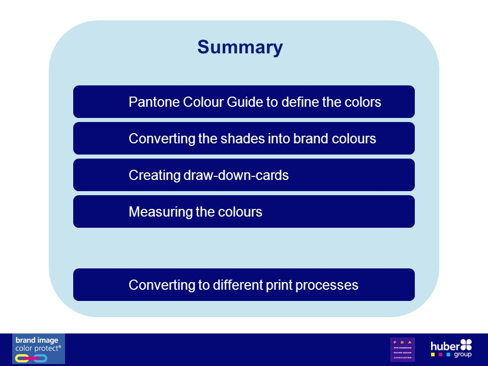 Summary Converting the shades into brand colours Pantone Colour Guide to define the colors Creating draw-down-cards Measuring the colours Converting to different print processes