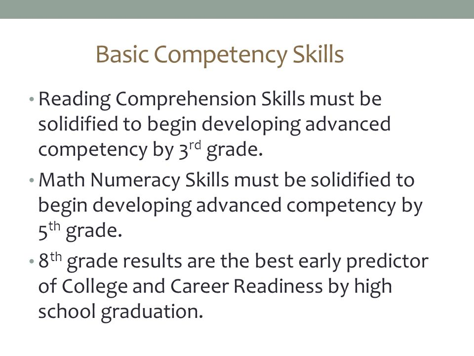 Basic Competency Skills Reading Comprehension Skills must be solidified to begin developing advanced competency by 3 rd grade.