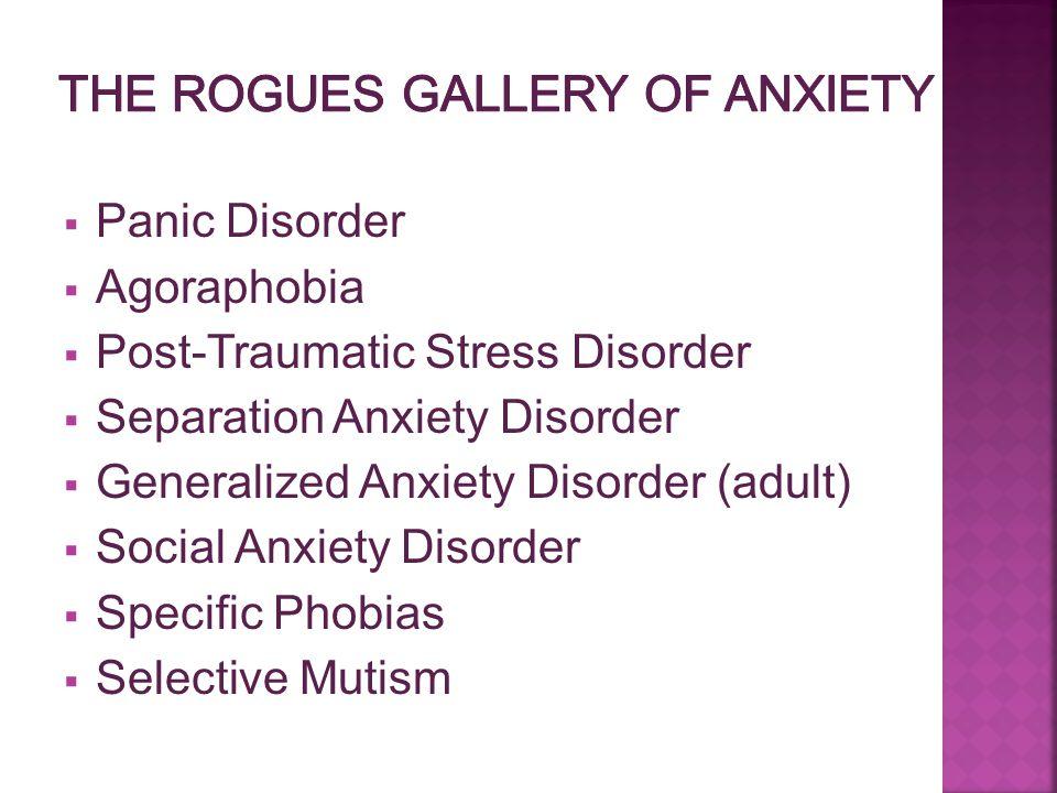  Panic Disorder  Agoraphobia  Post-Traumatic Stress Disorder  Separation Anxiety Disorder  Generalized Anxiety Disorder (adult)  Social Anxiety