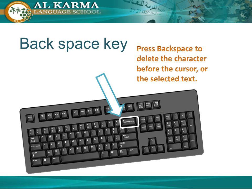 Back space key