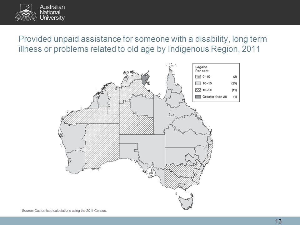 Provided unpaid assistance for someone with a disability, long term illness or problems related to old age by Indigenous Region, 2011 13