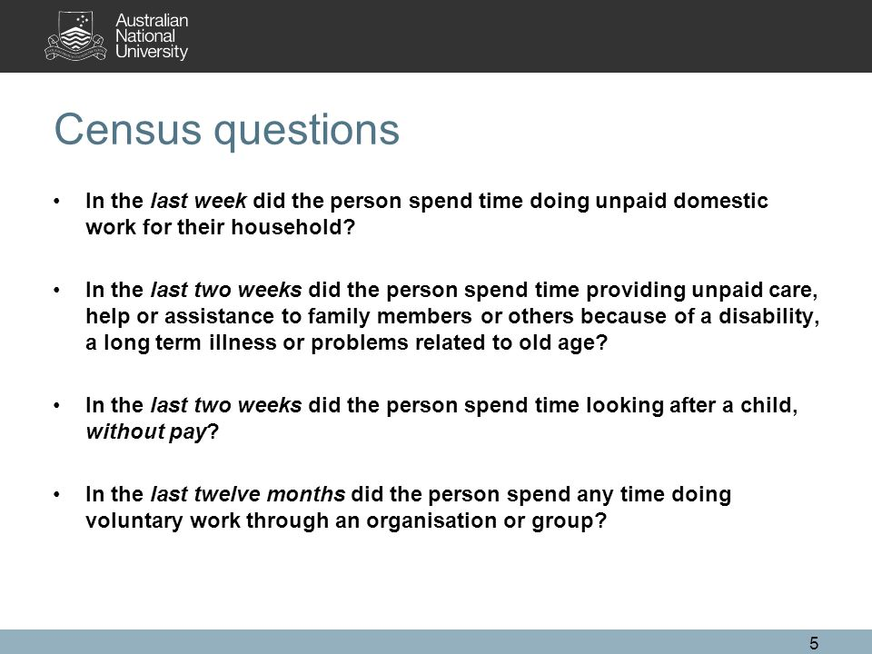 Census questions In the last week did the person spend time doing unpaid domestic work for their household? In the last two weeks did the person spend