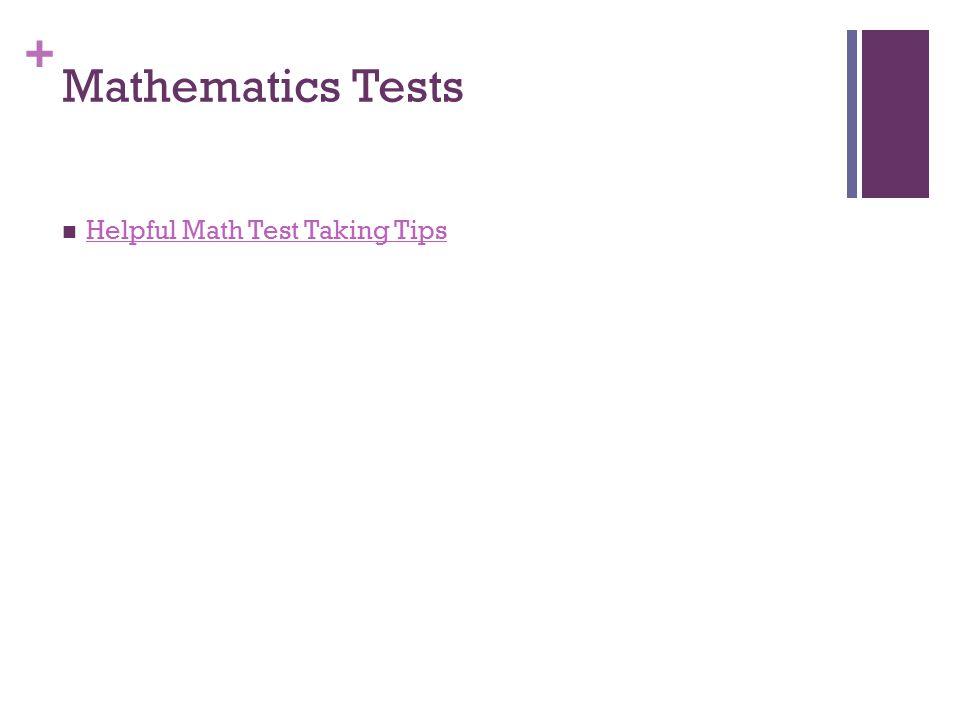 + Mathematics Tests Helpful Math Test Taking Tips
