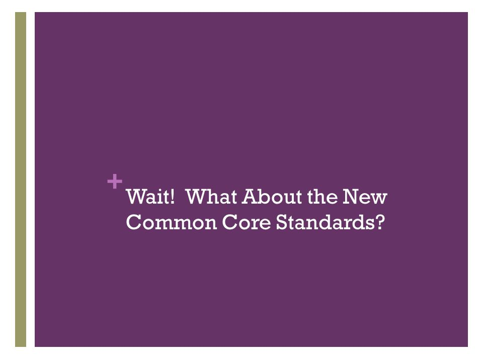 + Wait! What About the New Common Core Standards?
