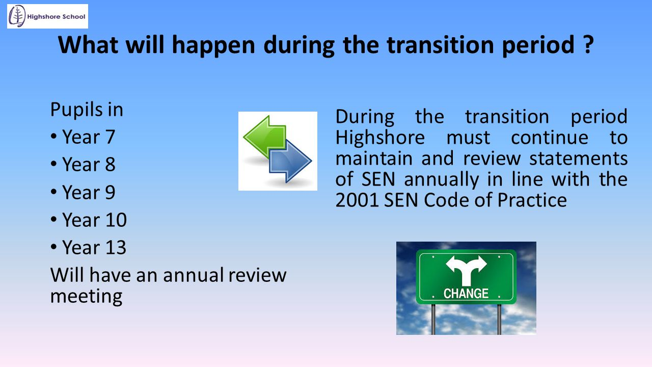 What will happen during the transition period ? Pupils in Year 7 Year 8 Year 9 Year 10 Year 13 Will have an annual review meeting During the transitio