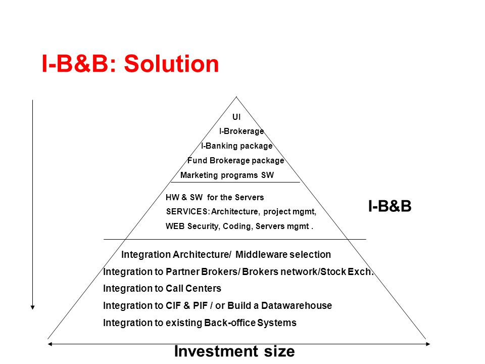 I-B&B: Solution UI I-Brokerage I-Banking package Fund Brokerage package Marketing programs SW HW & SW for the Servers SERVICES: Architecture, project mgmt, WEB Security, Coding, Servers mgmt.