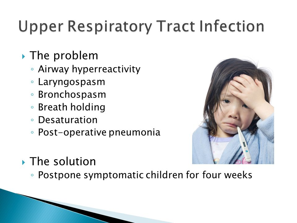  The problem ◦ Airway hyperreactivity ◦ Laryngospasm ◦ Bronchospasm ◦ Breath holding ◦ Desaturation ◦ Post-operative pneumonia  The solution ◦ Postp