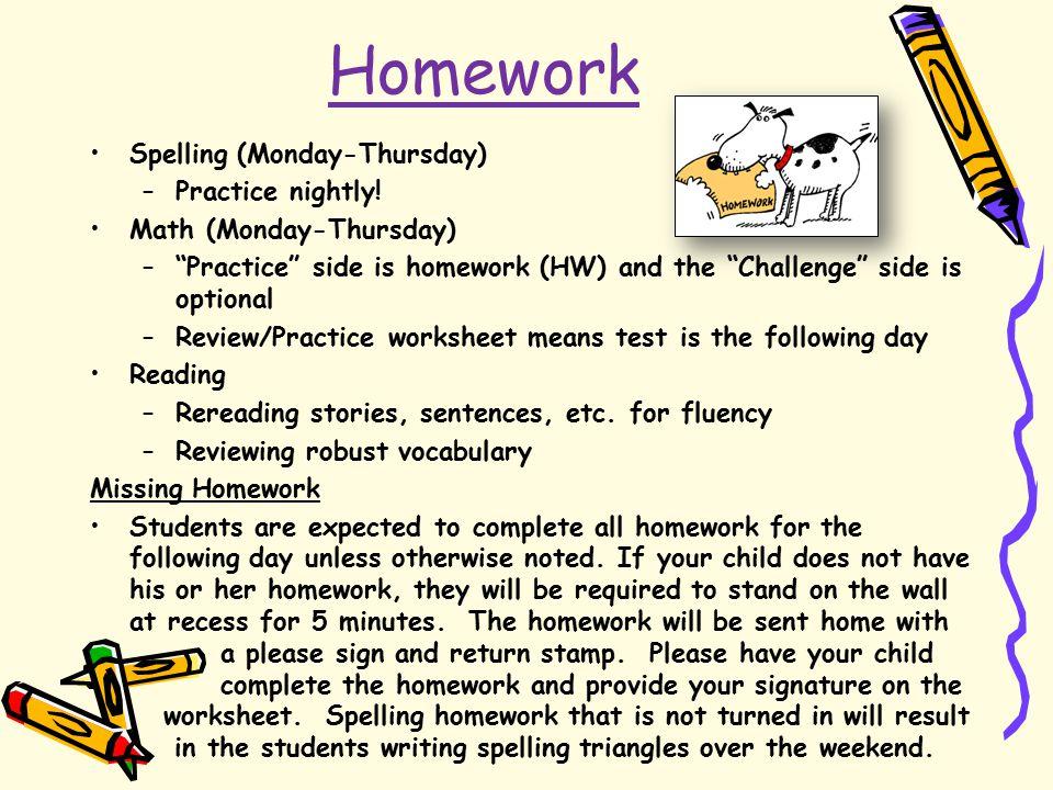 Homework Spelling (Monday-Thursday) –Practice nightly.