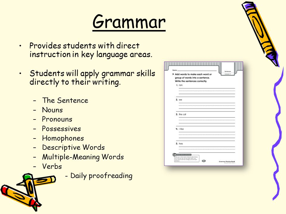 Grammar Provides students with direct instruction in key language areas.